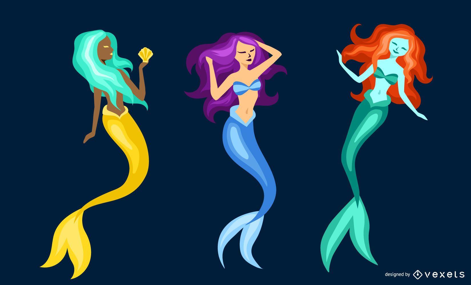 Flat mermaid set