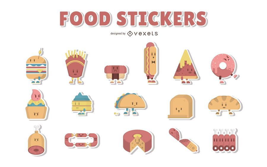 Cartoon food stickers collection