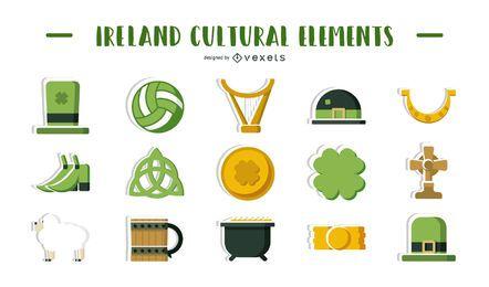 Ilustração de elementos culturais da Irlanda