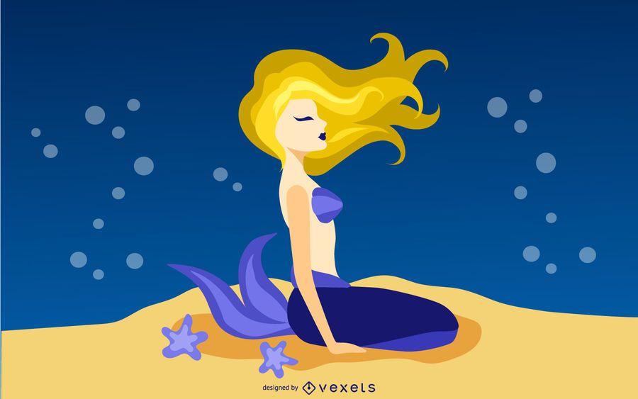 Hermosa ilustración de sirena