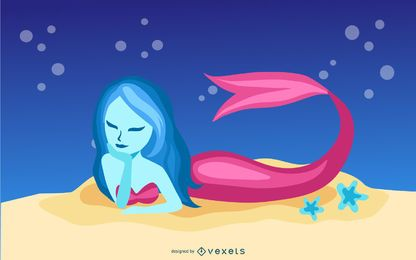Ilustración de sirena azul