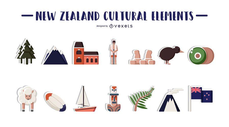 Ilustración de elementos culturales de Nueva Zelanda
