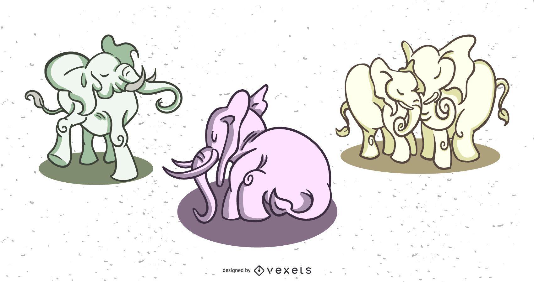 Stylish elephants colored set