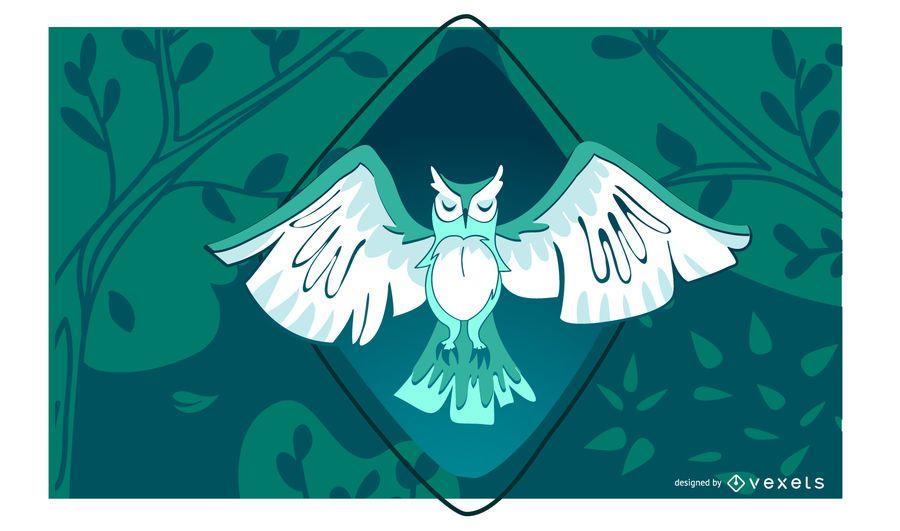 Ilustração elegante da coruja de noite