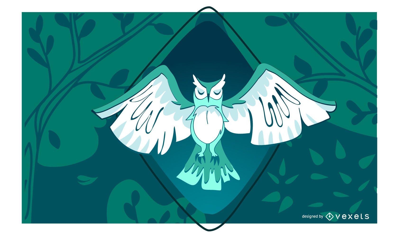 Stylish Night Owl Illustration