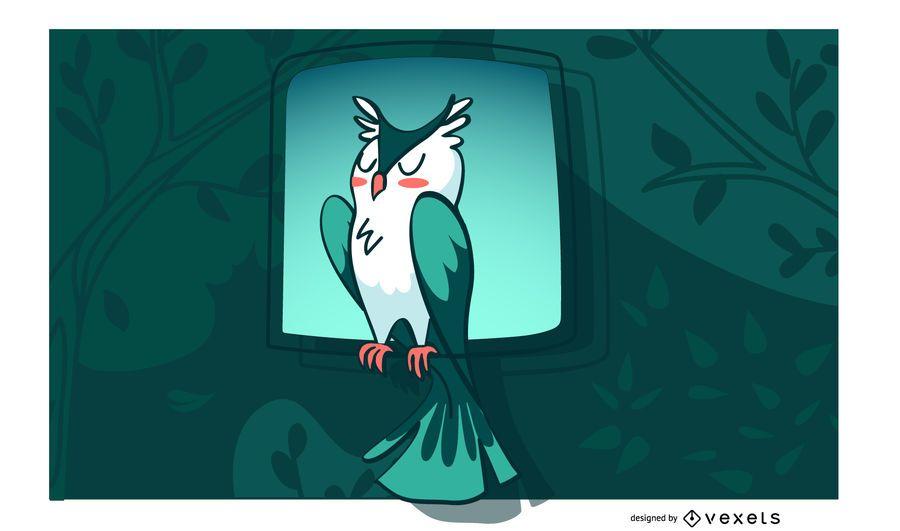 Stylish Owl Background Design