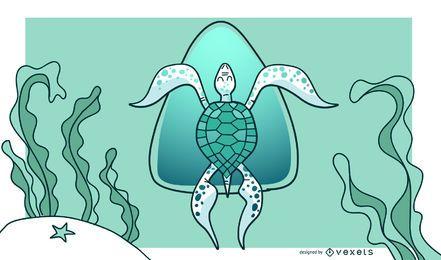 Diseño de fondo elegante tortuga verde