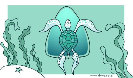 Stylish Green Turtle Background Design