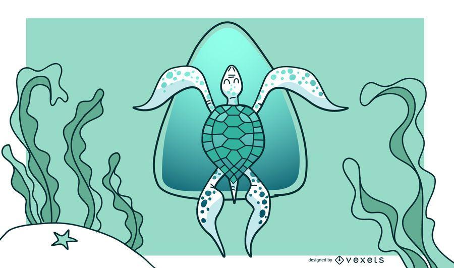 Design de fundo elegante tartaruga verde