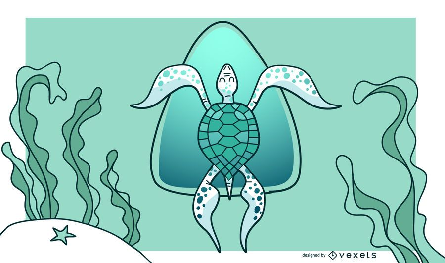 Stylish Green Turtle Background Design