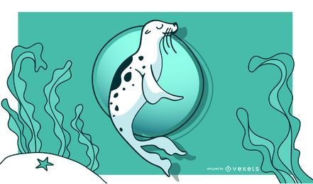 Beautiful Swimming Seal Illustration
