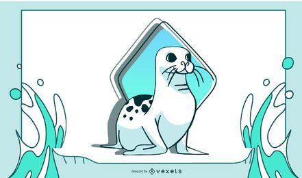 Happy Seal Relaxing Illustration