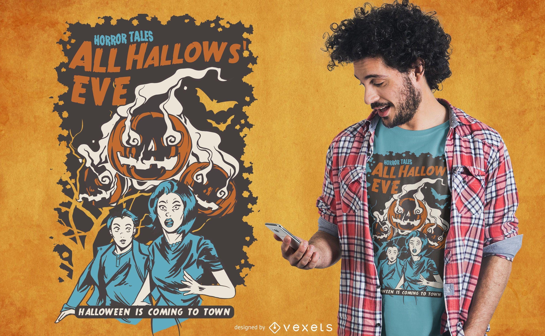 Diseño de camiseta de víspera de todos los santos