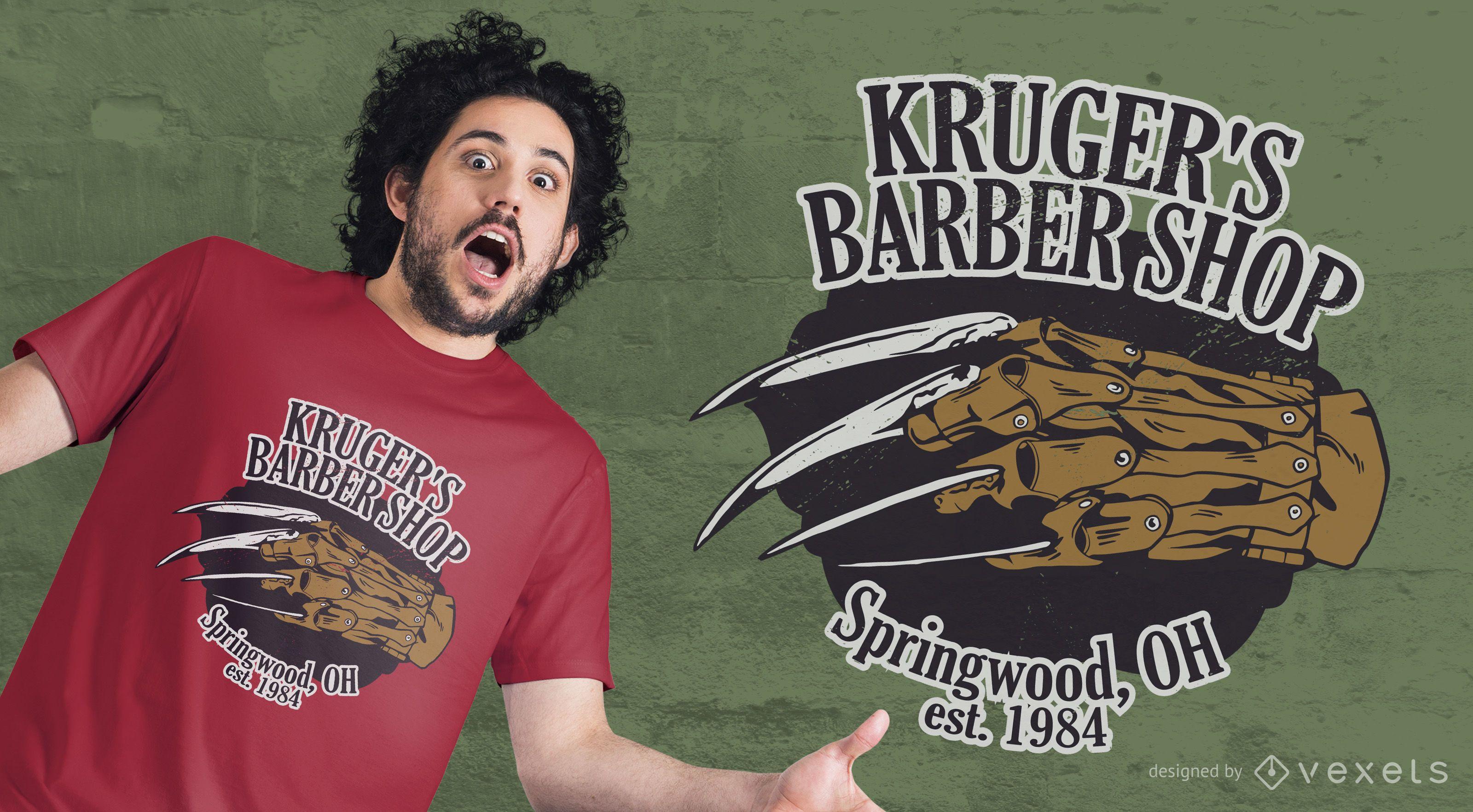 Design de t-shirt da barbearia de Kruger