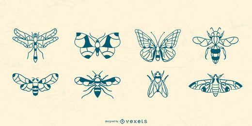 Colección de insectos alados dibujados a mano