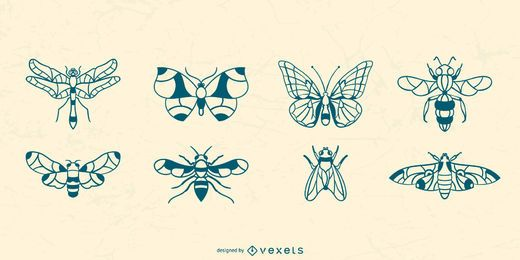 Hand Drawn Winged Insect Collection