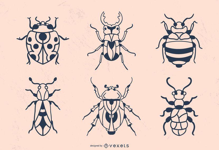 Hand gezeichneter Käferanschlag