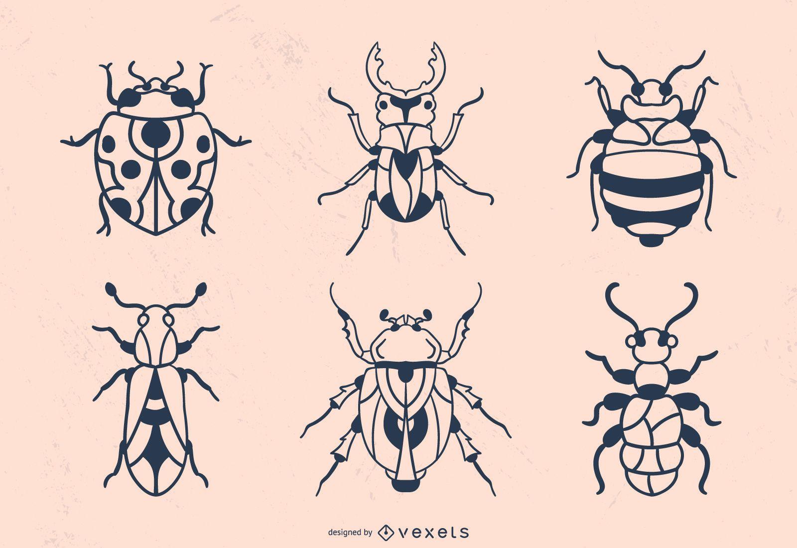 Trazo de escarabajo dibujado a mano