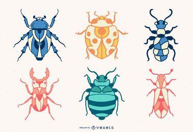 Farbige handgezeichnete Bugs Set