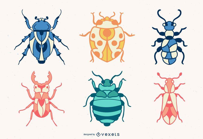 Conjunto de bugs coloridos mão desenhada