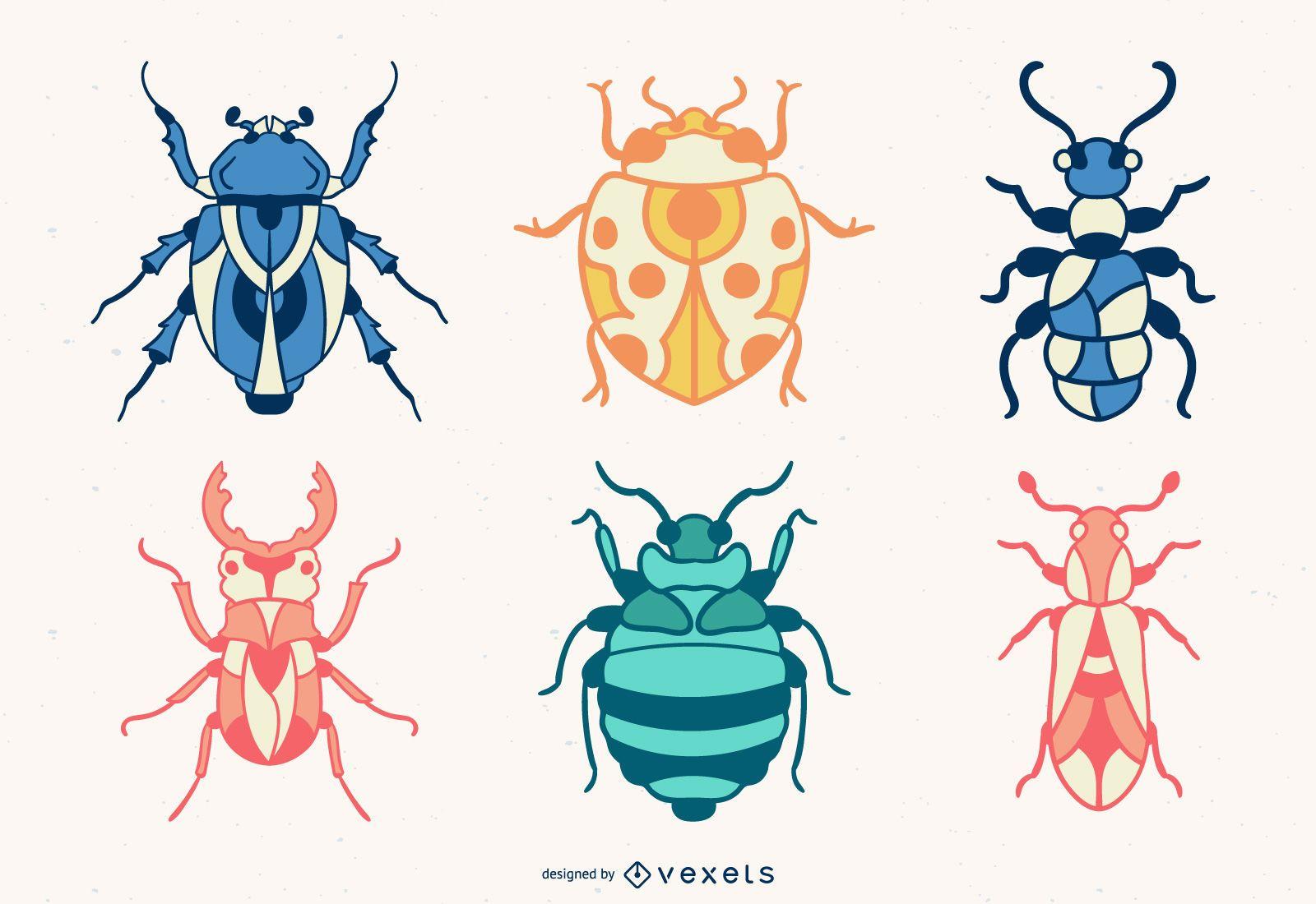 Conjunto de insetos coloridos desenhados à mão