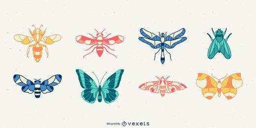 Conjunto de vectores de insectos dibujados a mano