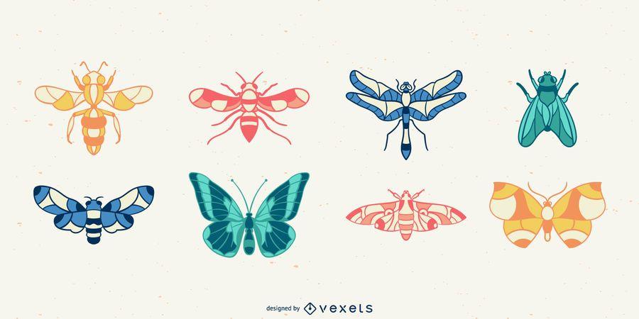 Conjunto de vetores de insetos desenhados à mão