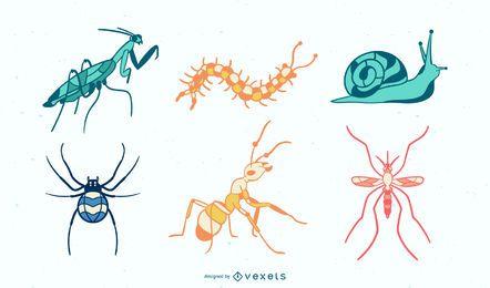 Insectos coloridos dibujados a mano