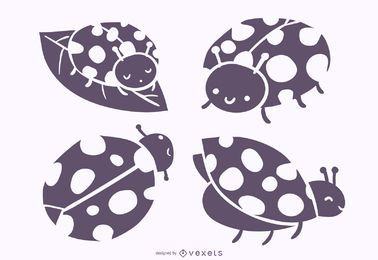 Cute Ladybug Silhouette Vector Set