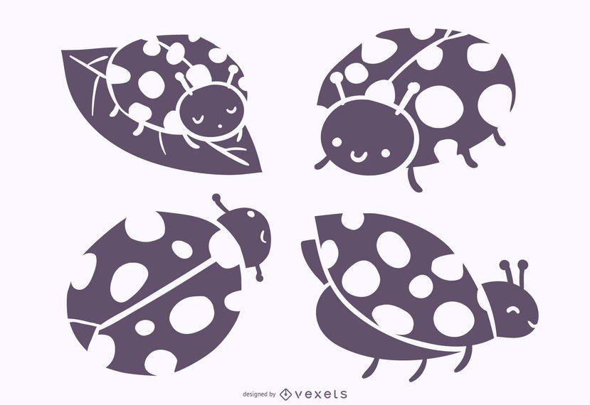 Lindo conjunto de vectores de silueta de mariquita