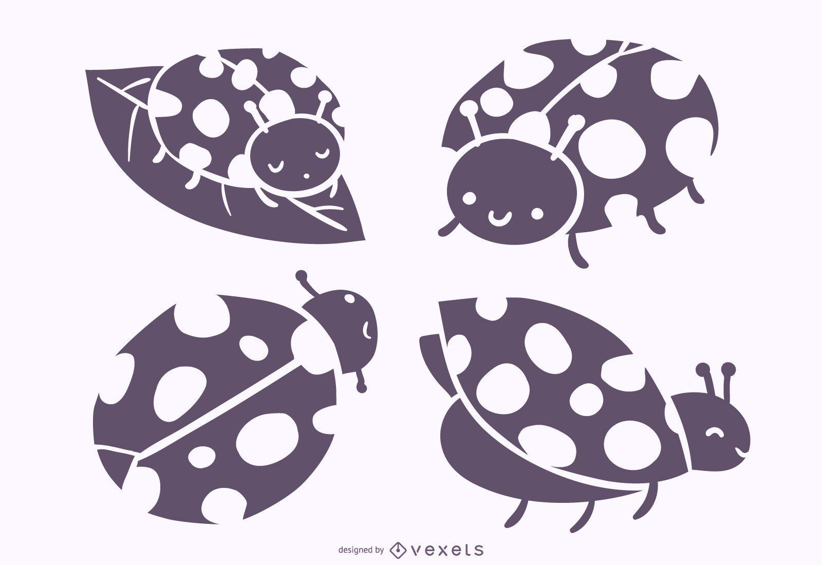 Conjunto de vetores de silhueta de joaninha fofa