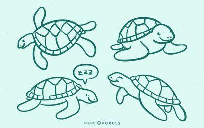 Doodle de tartaruga de mar bonito
