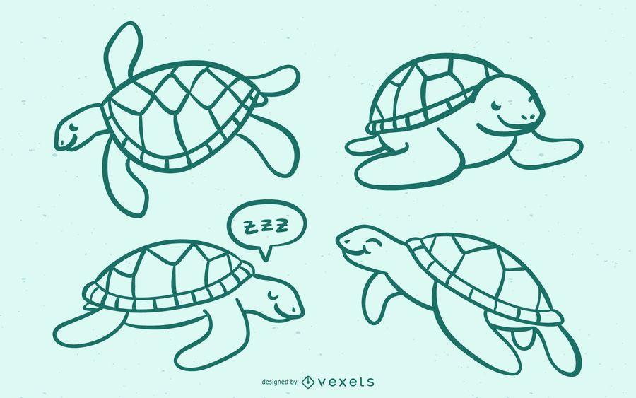 Nettes Meeresschildkröte-Gekritzel
