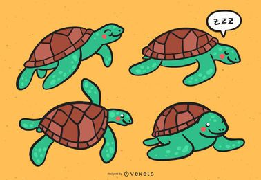 Cute Sea Turtle Vector Set