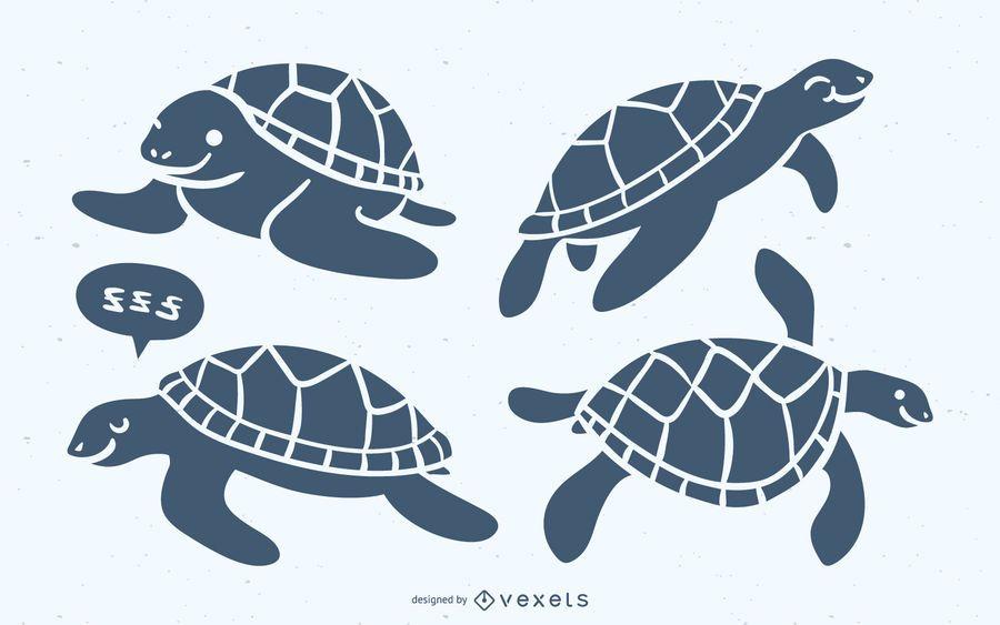 Conjunto de silueta azul linda tortuga marina