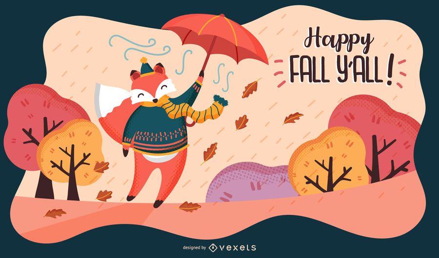 Feliz, outono, raposa, ilustração