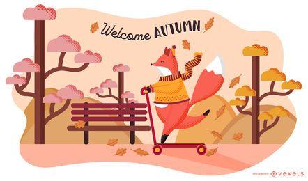 Bem-vindo, outono, raposa, ilustração