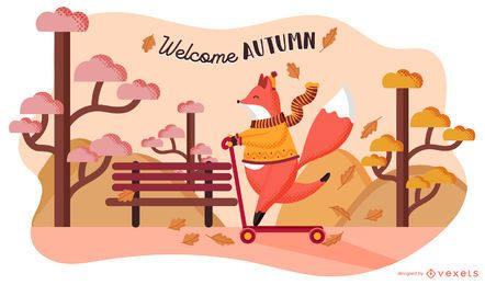 Welcome autumn fox illustration