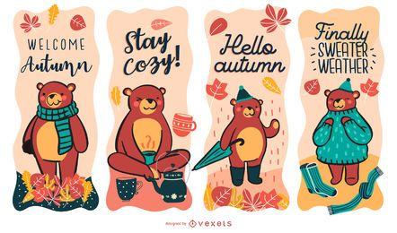 Conjunto de etiquetas de urso de outono