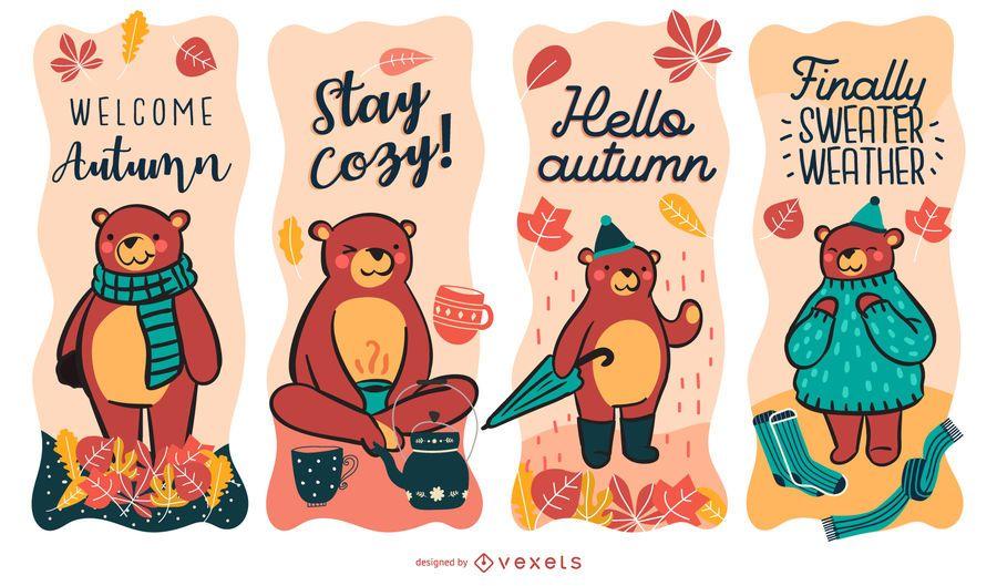 Conjunto de rótulos de urso outono