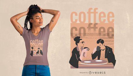 Entspannender Kaffee-T-Shirt Entwurf
