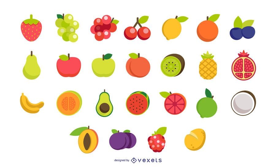 Flat fruits vector collection