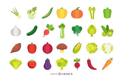 Flat vegetables vector collection