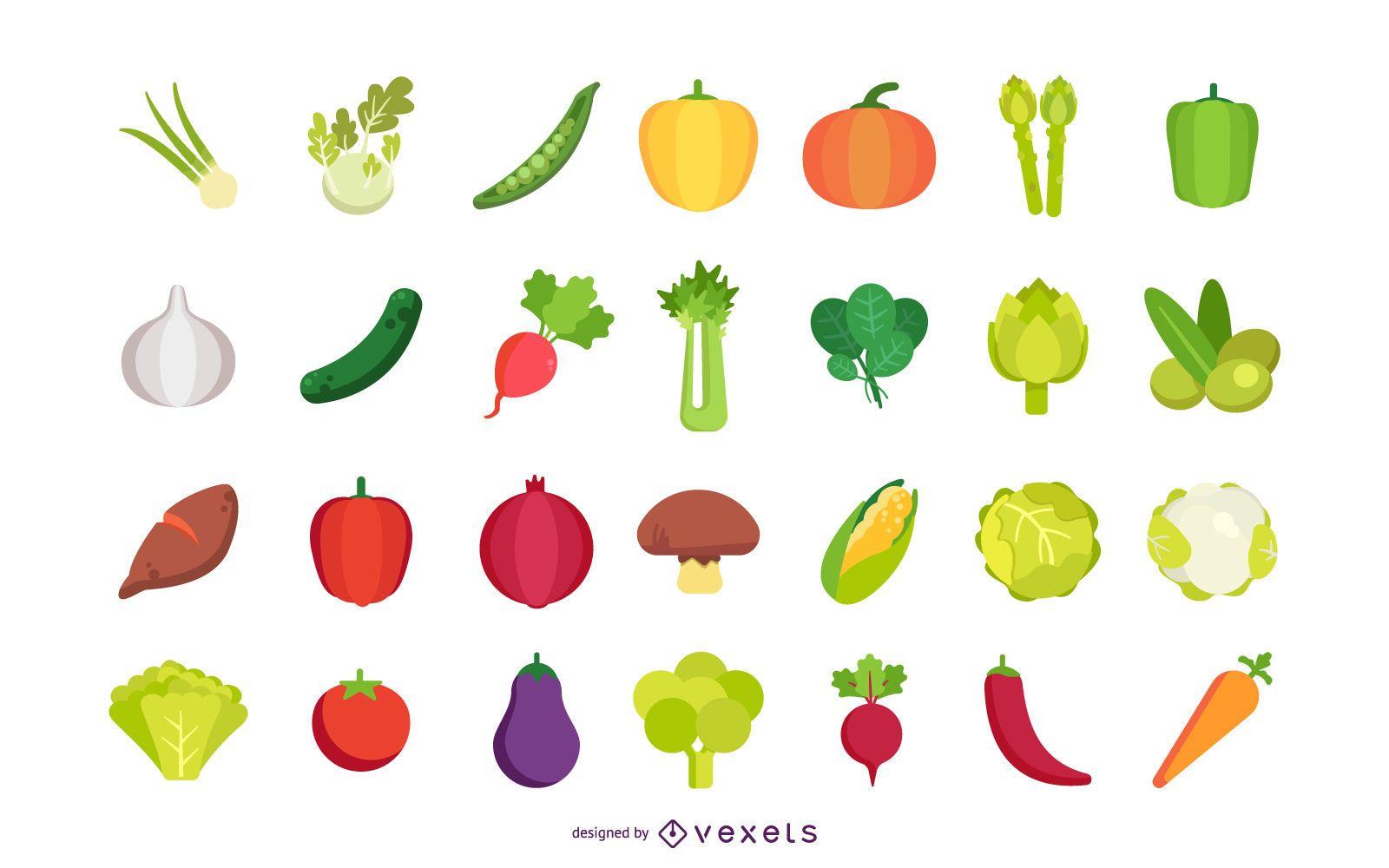 Flache Gemüsevektorsammlung