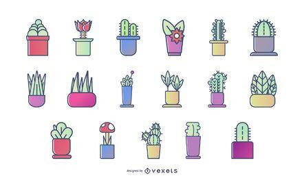 Conjunto de ícones coloridos de plantas