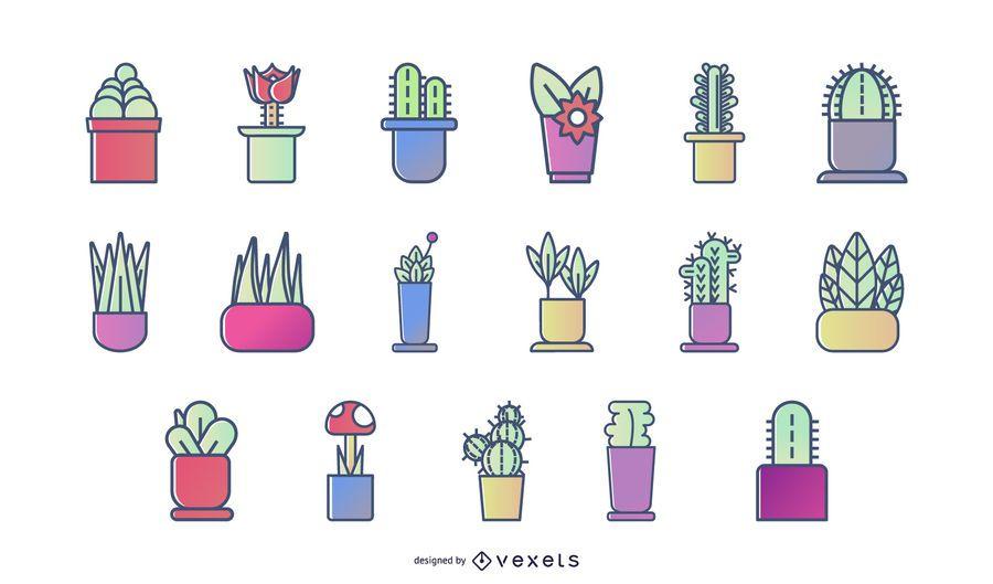 Conjunto de iconos de plantas de color