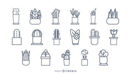 Conjunto de iconos de trazo de plantas