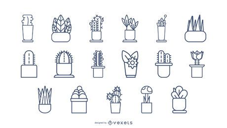 Plants Stroke Icon Set