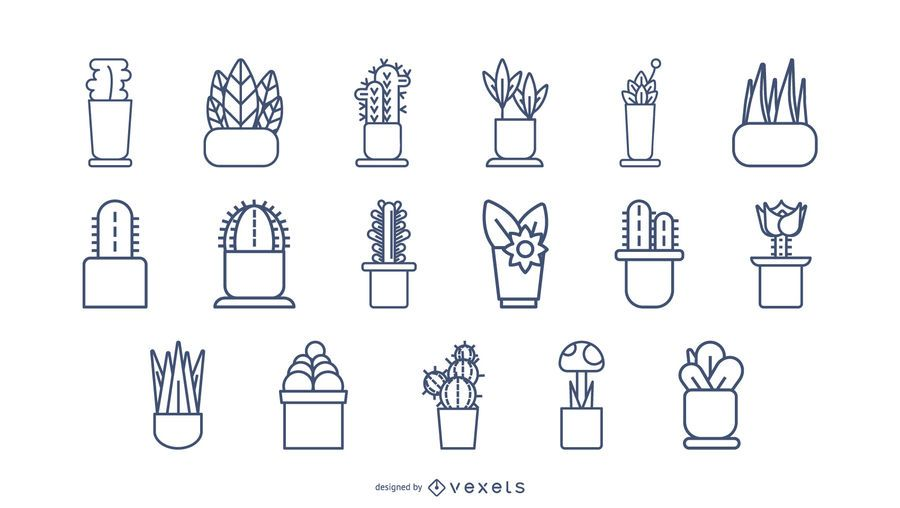 Pflanzen Schlaganfall-Icon-Set