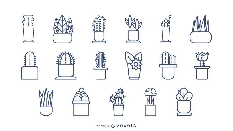 Plants Stroke Icon Set